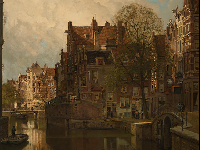 Johannes Christiaan Karel Klinkenberg (Dutch, 1852-1924) A view of Grimburgwal, Amsterdam 39 1/2 x 31 1/2in (100.4 x 80cm)