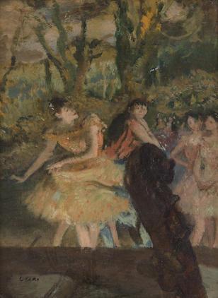 EDGAR DEGAS (1834-1917) Danseuses et contrebasse 9 x 6 3/4 in (23.2 x 17 cm) (Painted circa 1879-1880)