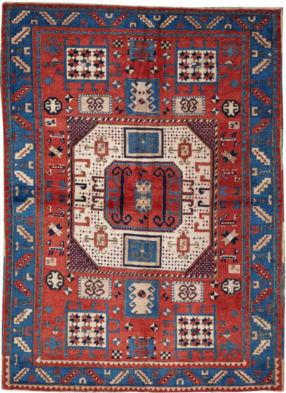 Bonhams : A Kazak rug Caucasus size approximately 4ft. 7in. x 8ft.