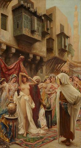 Fabio Fabbi (Italian, 1861-1946) The slave market 39 1/2 x 21 1/2in (100.3 x 54.6cm)