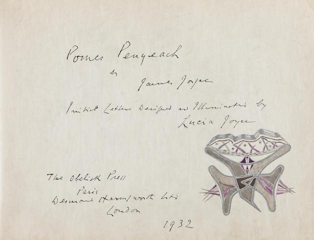 JOYCE, JAMES. 1882-1941. Pomes Penyeach. Paris: Obelisk Press. London: Desmond Harmsworth, [September] 1932.