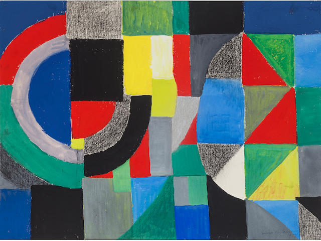 SONIA DELAUNAY (1885-1979) Rhythme coloré 22 1/2 x 30 1/2 in (57.2 x 77.5 cm) (Painted in 1959)