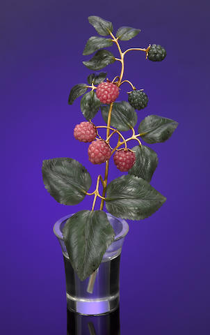 Branch of Red Raspberries in a Rock Crystal Vase
