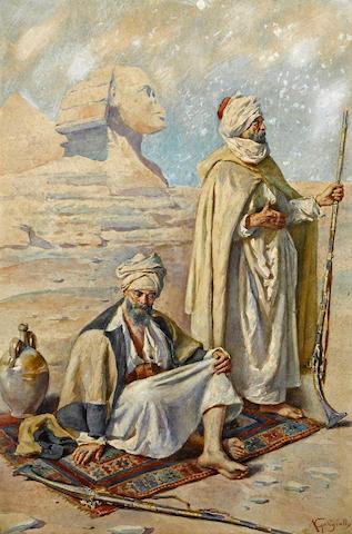 Antonio Gargiullo (Italian, late 19th Century) Two tribesmen before the Great Sphinx of Giza 21 3/4 x 15in (55.3 x 38.1cm)