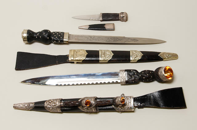 A lot of two 20th century Scottish dirks and one skean dhu