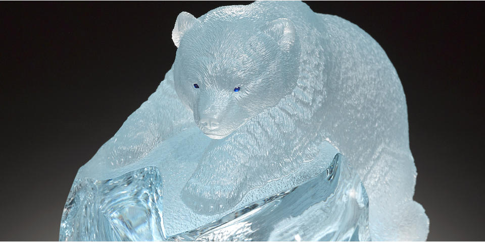 Natural Blue Topaz Carving of a Bear
