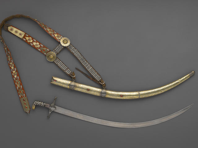 A Safavid shamshir with rare Turkoman carnelian and gilt silver-mounted scabbard and baldric
