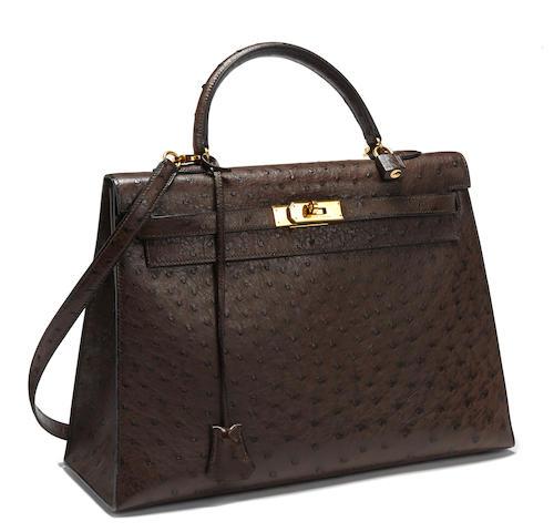 An Hermès brown ostrich Kelly bag