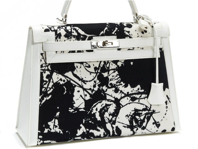 A rare Hermès special order black and white Kelly handbag