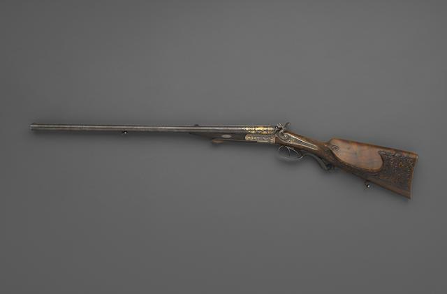 A fine gold damascened Royal Bavarian underlever cape gun by Miller & Valentin Greiss