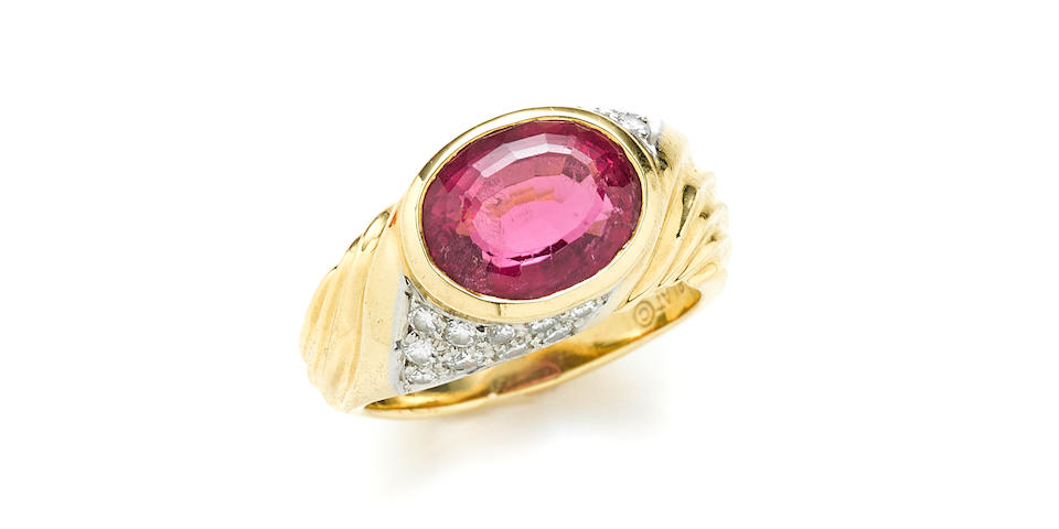 A pink tourmaline, diamond, 18k gold and platinum ring