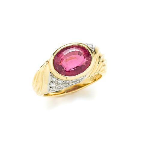 A pink tourmaline, diamond, 18k gold and platinum ring