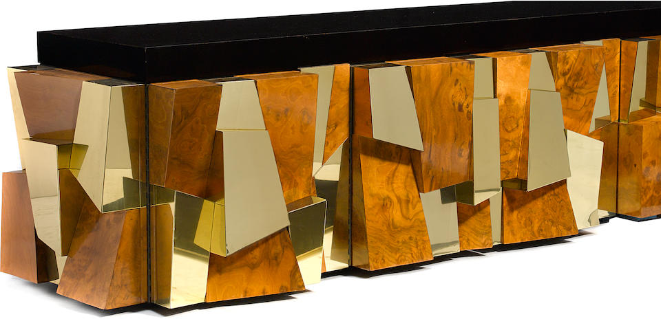 A Paul Evans walnut burl and brass wall-mounted faceted credenza designed circa 1975 for Directional