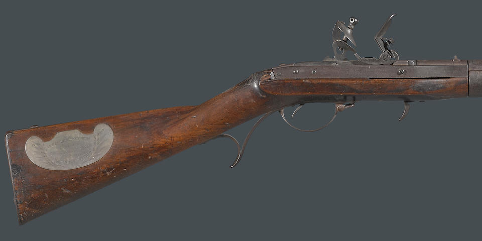 A rare Congressional presentation U.S. Model 1819 Hall breechloading flintlock rifle