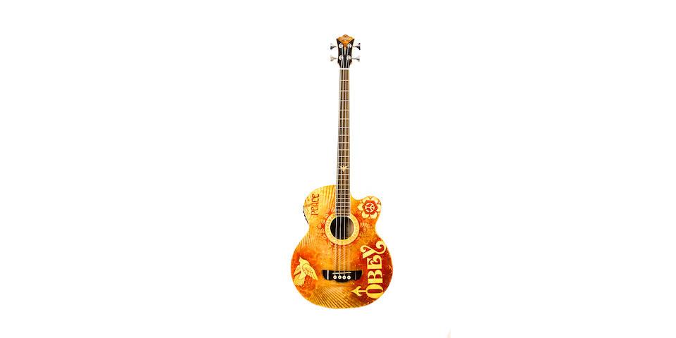 Shephard Fairey, Peace Dove, Carparelli Acoustic Bass Model CB900, mixed media, spray paint and collage