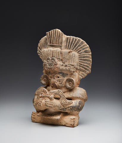 Zapotec Seated Figural Urn, Monte Alban IIIB, Late Classic, ca. A.D. 550-950