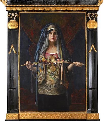 Gyula Tornai (Hungarian, 1861-1928) The Moroccan bride 53 1/2 x 35 3/4in (138 x 91cm)