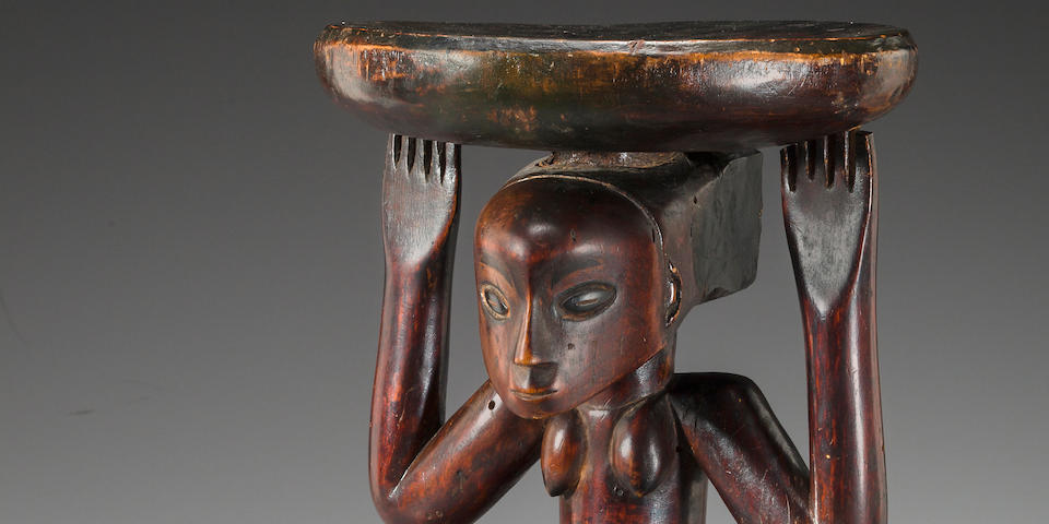 Fine Luba Female Caryatid Prestige Stool, Democratic Republic of the Congo
