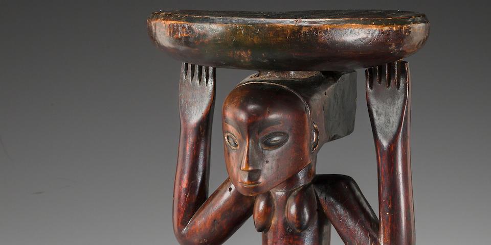 Fine Luba Female Caryatid Prestige Stool, Democratic Republic of the Congo