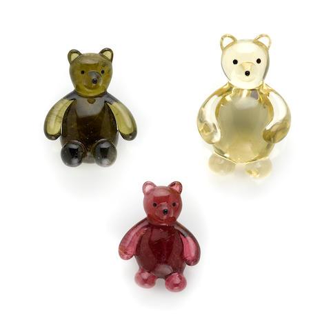 Three Carved Gemstone Bears