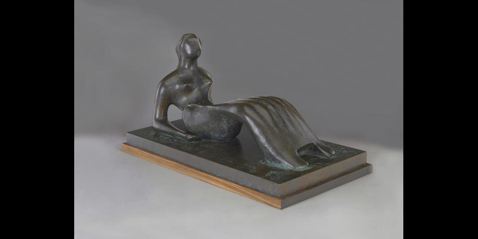 HENRY MOORE O.M., C.H. (1898-1986) Working Model for Reclining Figure: Bone Skirt 27 in (69 cm) (length, including base) (Cast in 1977-79)