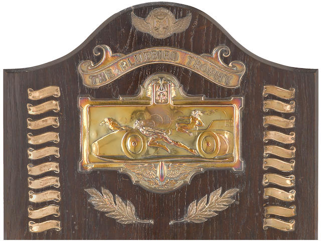'The Bluebird Trophy' award, England, circa 1933, 22 x 17 ins.