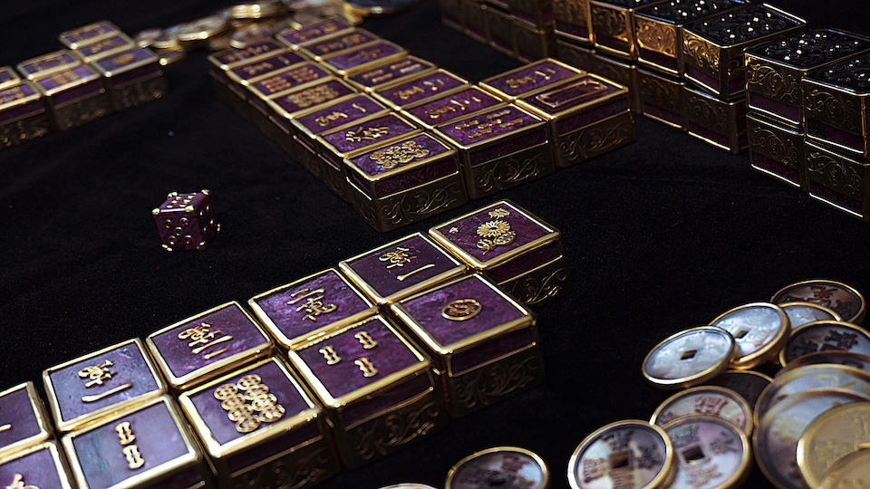 One-of-a-Kind Ruby and Black Obsidian Mahjong Set in Custom Presentation Box