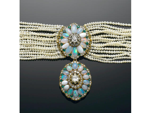 Antique Opal and Emerald and Seed Pearl Choker Necklace and Bracelet