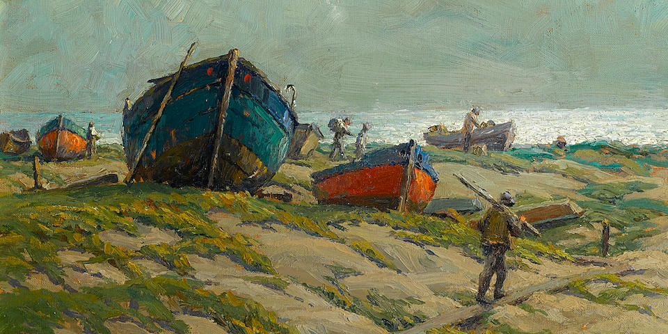 Granville Redmond (American, 1871-1935) Fishermen and fishing boats on the shore 12 x 16in (overall: 20 x 24in)