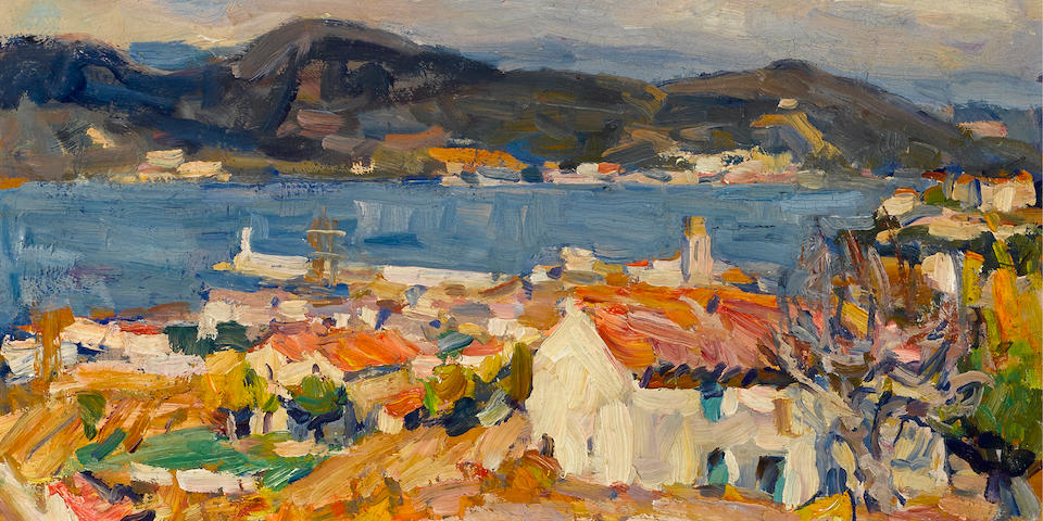 Euphemia Charleton Fortune (American, 1885-1969) Sunny morning, St. Tropez 13 x 16 1/4in overall: 16 1/2 x 20 1/2in (Painted circa 1924-1926)