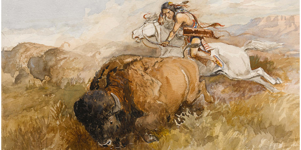 Charles Marion Russell (American, 1864-1926) The chase (Indian on a white horse shooting a buffalo) 10 1/4 x 15 3/4in overall: 19 3/4 x 24 3/4in (Painted circa 1906)