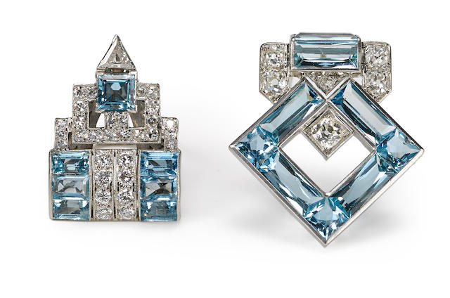 An art deco aquamarine and diamond brooch, Cartier, together with a coordinating aquamarine and diamond ring