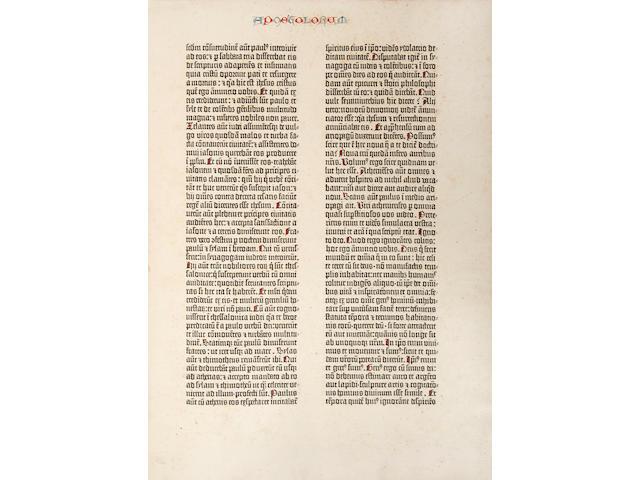 GUTENBERG BIBLE. [Bible in Latin. Mainz: Johann Gutenberg and Fust, 1455.]