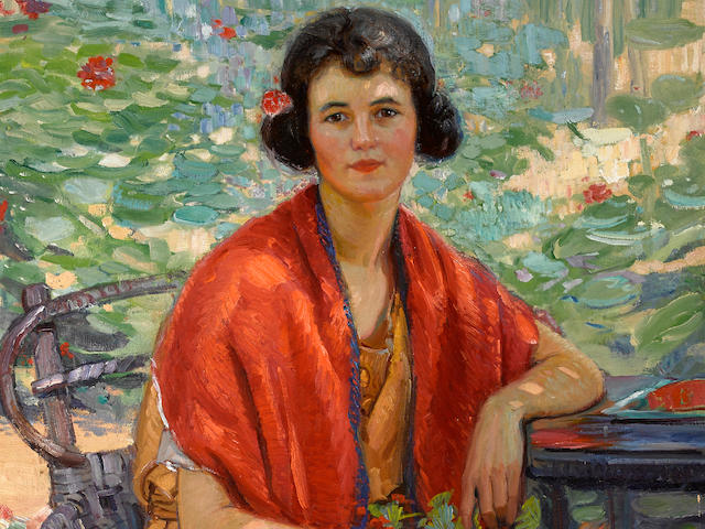 Joseph Kleitsch (1882-1931) The red shawl (Portrait of Edee-Lou Frazee) 40 x 36in (overall: 48 x 44in)