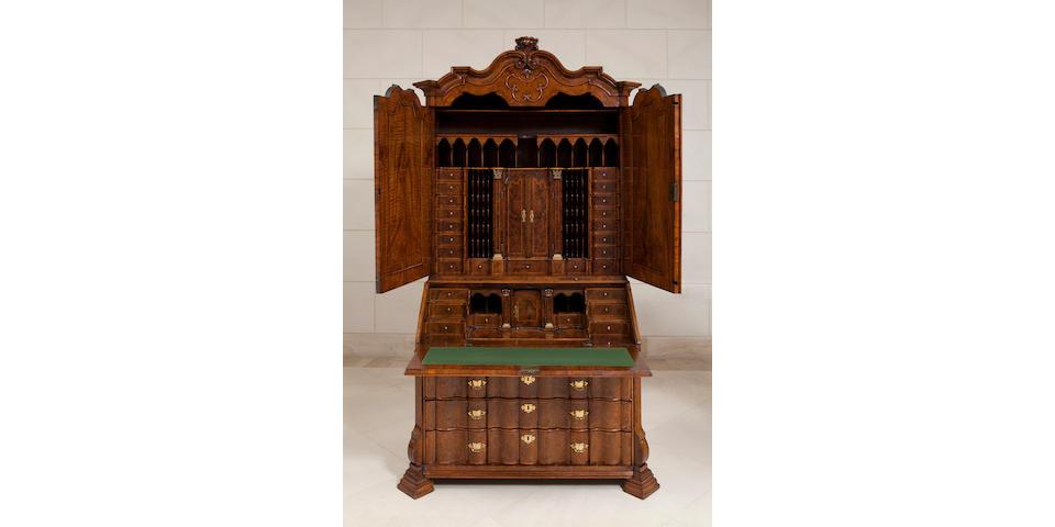 A fine Dutch walnut secretary cabinet mid 18th century