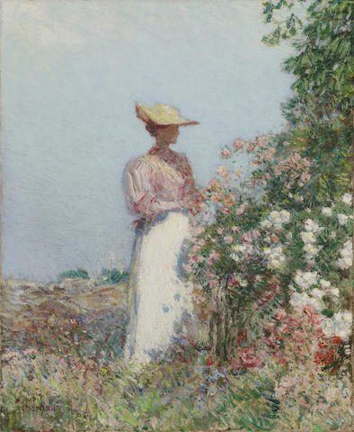 Childe Hassam (American, 1859-1935) Lady in a Garden 18 x 15in (Painted circa 1890.)