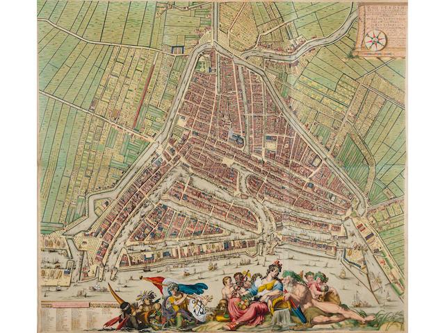 ROTTERDAM. [DE HOOGHE, ROMEYN, AND JOANNES DE VOU.] Carte van de Stad Rotterdam, en gezicht langs de Maas, benevens de afbeeldingen van de vorrnaamste publique gebouwen.   [Rotterdam: 1694-c.1787.]
