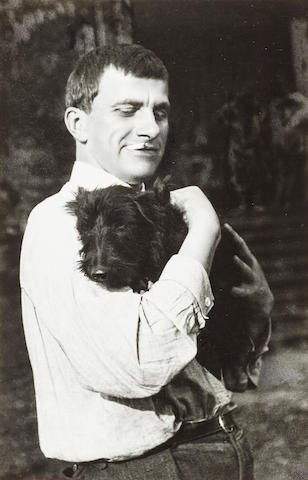 RODCHENKO, ALEKSANDR. 1891-1956. Portrait of Mayakovsky (with dog),