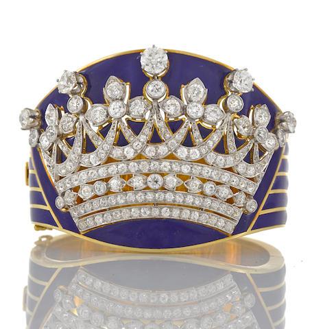An enamel and diamond crown motif bangle bracelet