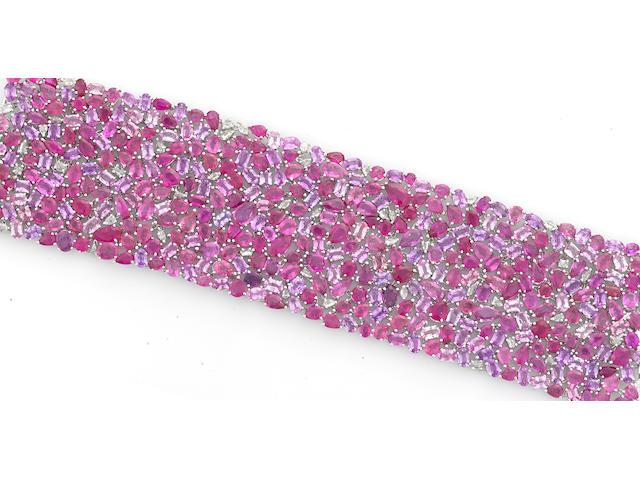 A pink sapphire and diamond wide bracelet