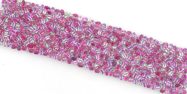 A pink sapphire and diamond wide bracelet