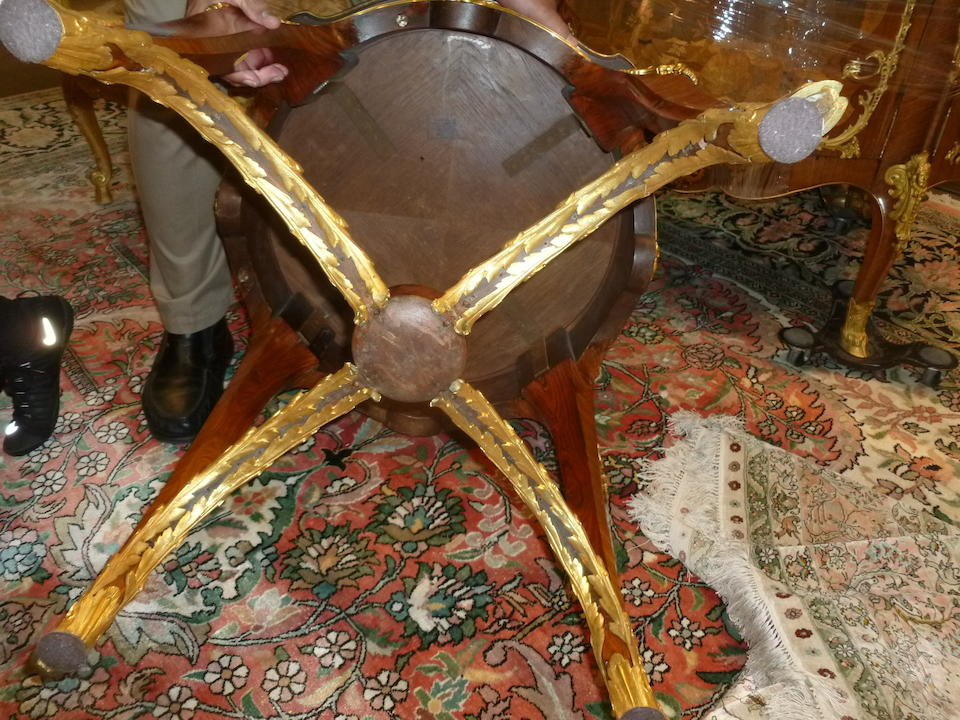 A good pair of Louis XV style gilt bronze mounted marquetry gueridonslate 19th/early 20th century