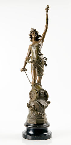 A L'Automobile spelter sculpture, French, 1907, Height 27½ ins.