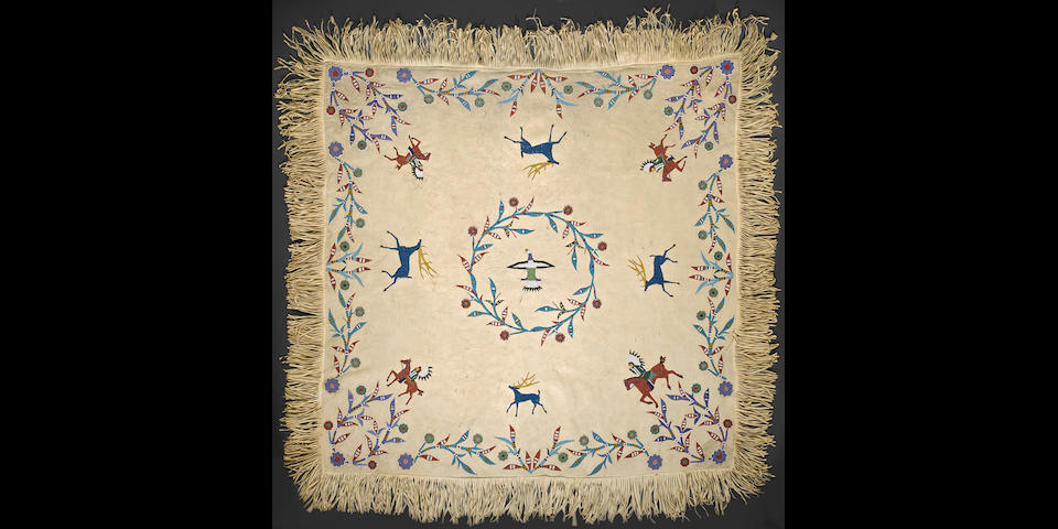 An exceptional Sioux beaded pictorial hide
