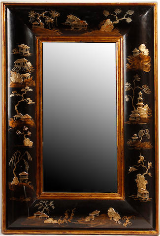 A Queen Anne style chinoiserie decorated mirror