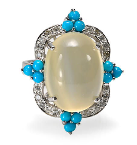 A moonstone, turquoise and diamond ring