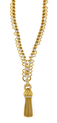 A diamond and 18k gold tassel pendant-enhancer/necklace, Van Cleef & Arpels, French