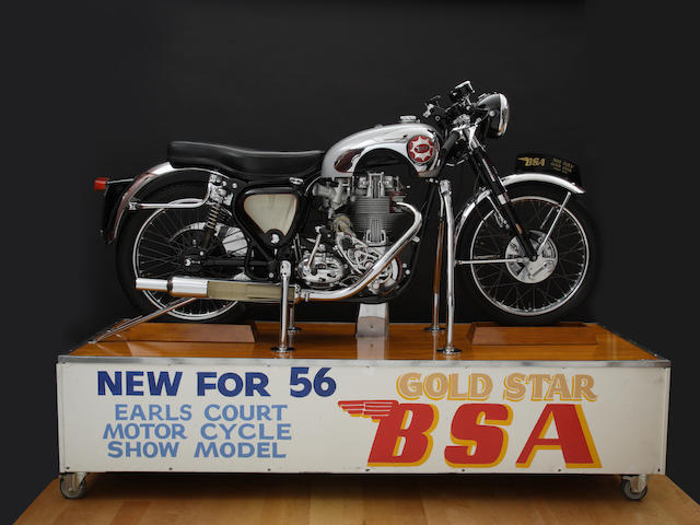 "Star of the Earl's Court Show, Fully Motorized Engine and Suspension,1956 BSA B34 Gold Star Clubmans ""Cutaway"" Motorcycle and Display Stand"