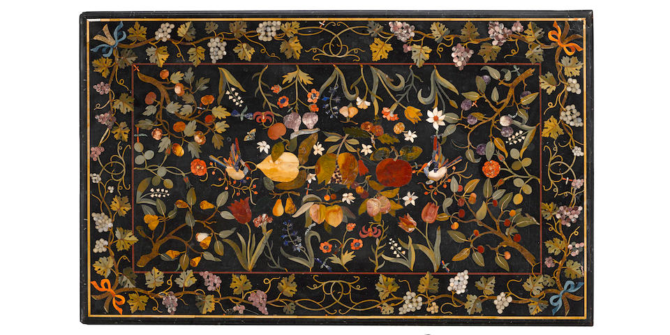 An impressive Italian pietra dura table on later wrought iron and brass base top mid 19th century