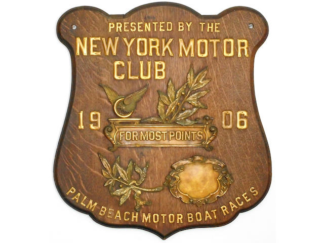 A Palm Beach Motorboat Race plaque, presented by the New York Motor Club, 1906, 26½ x 24 ins.